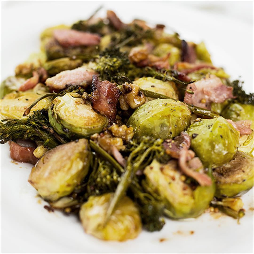 Balsamic Roasted Brussels Sprouts with Bacon and Broccolini
