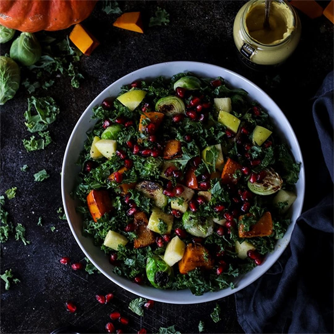 Vegan Fall Harvest Salad with Kale and Pumpkin • Happy Kitchen