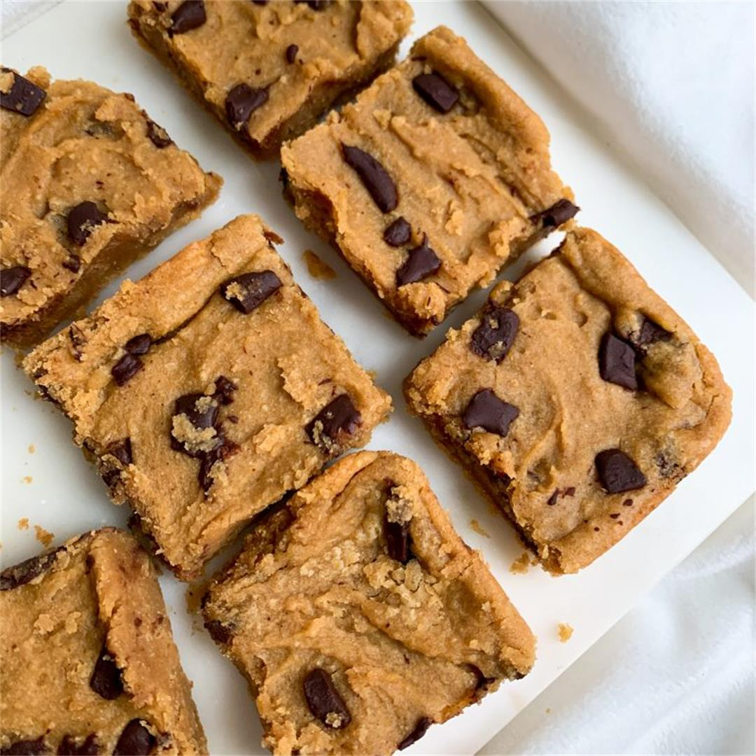 Vegan Peanut Butter Chocolate Chip Chickpea Blondies