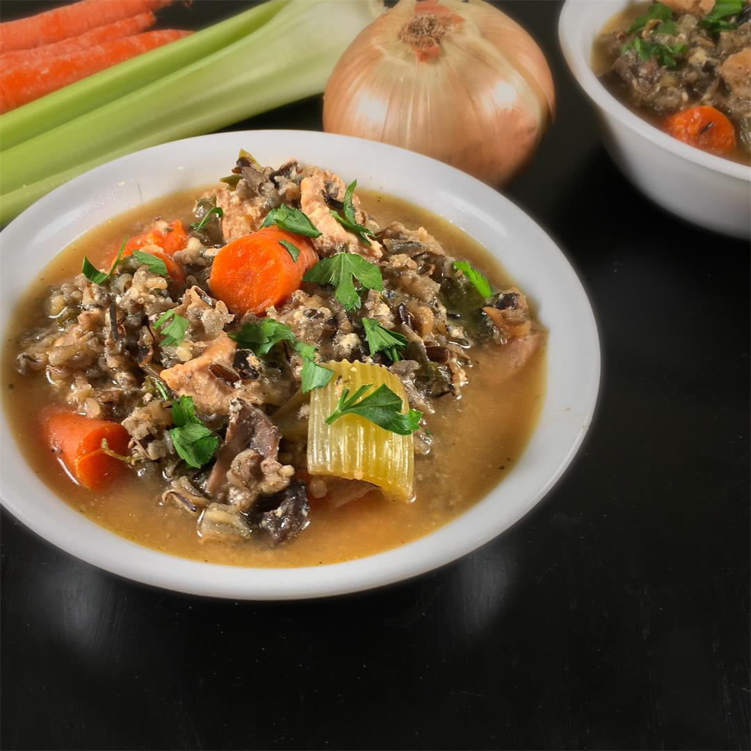 Turkey Soup with Wild Rice Recipe (Crockpot)