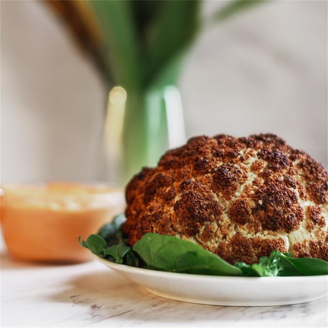Whole Roasted Cauliflower with Harissa Dipping Sauce