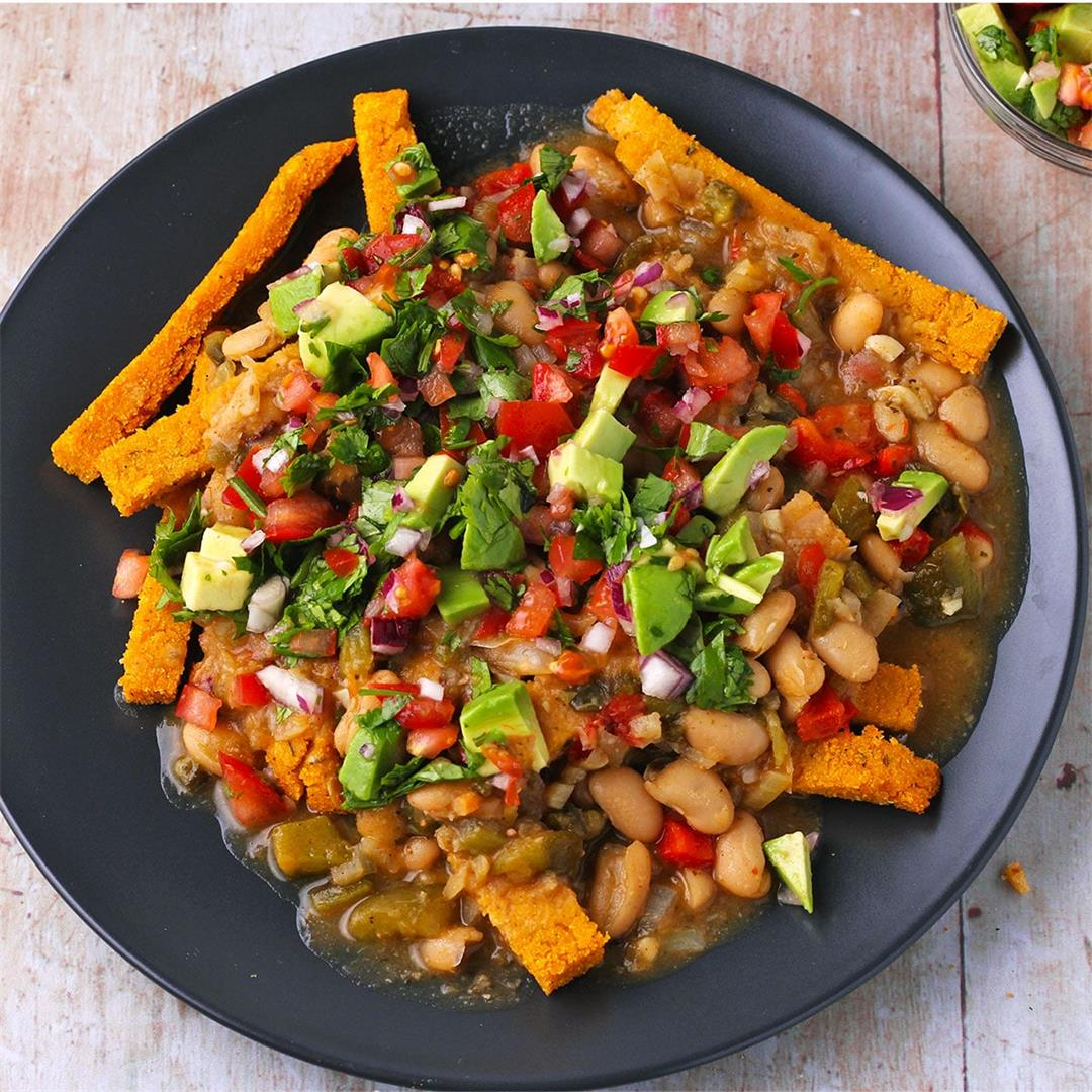 vegan white bean chili with baked polenta fries