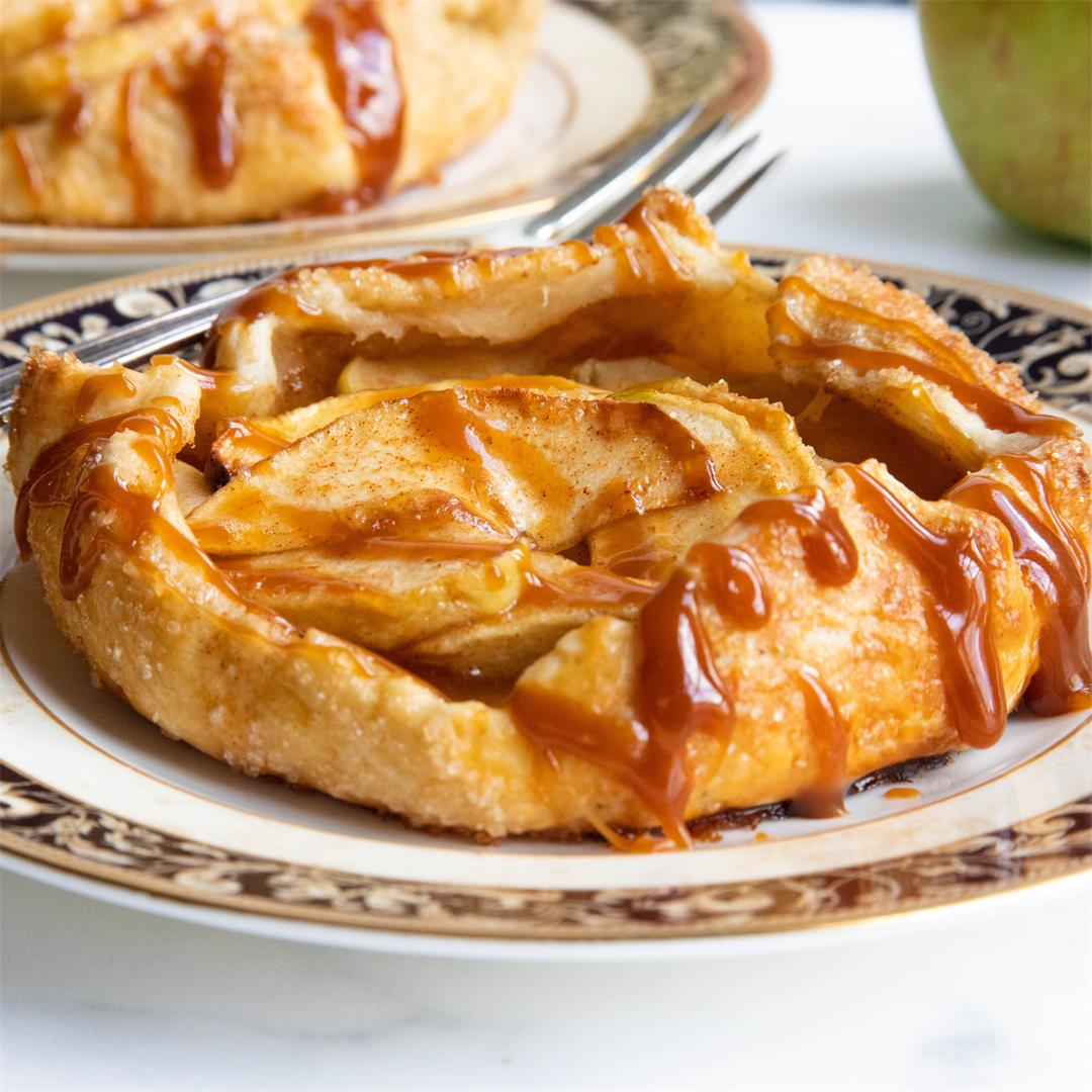 Mini Apple Galettes with Caramel Sauce