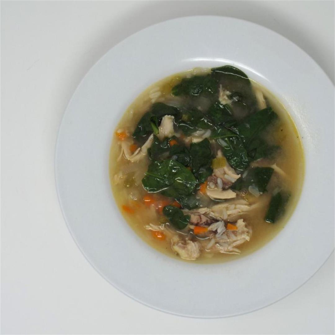 Chicken and Rice Soup with Spinach
