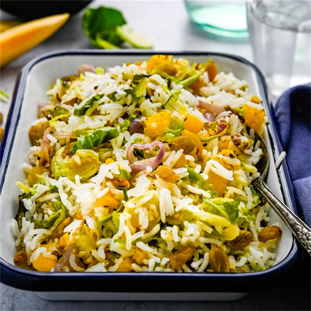 Basmati Rice Pilaf With Roasted Fall Vegetables