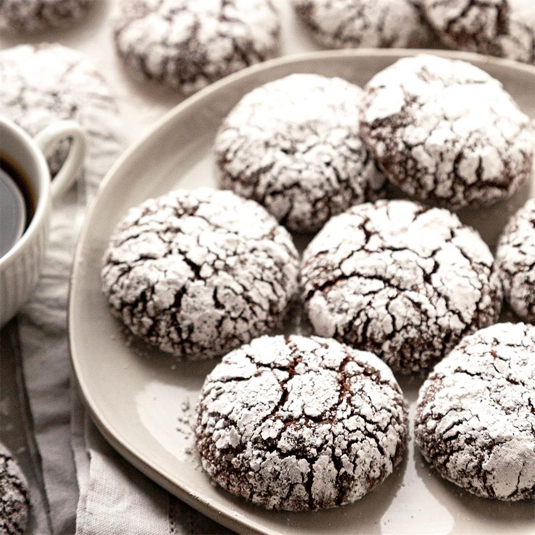 The BEST Rich and Fudgy Double Chocolate Crinkle Cookies