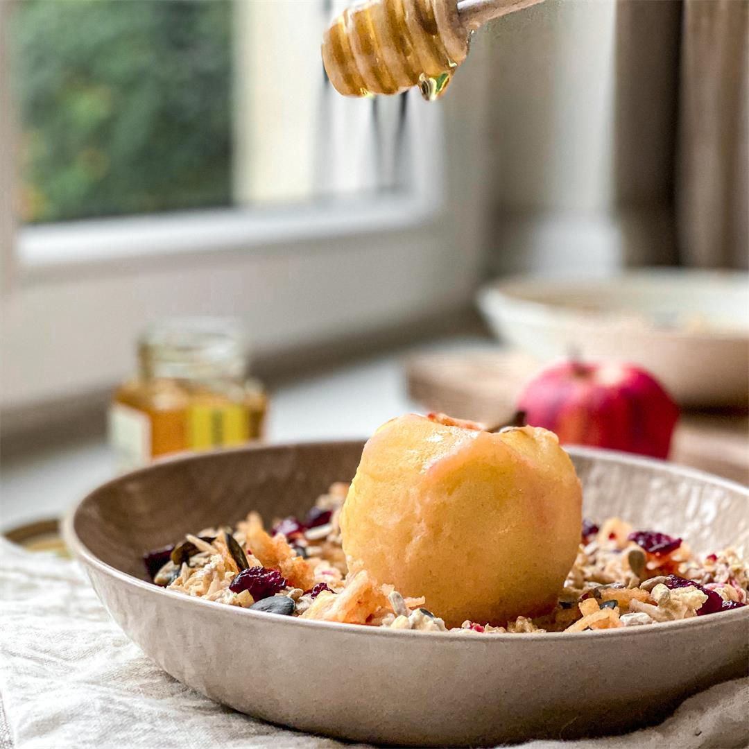 Bircher muesli w/ Honey Poached Apple