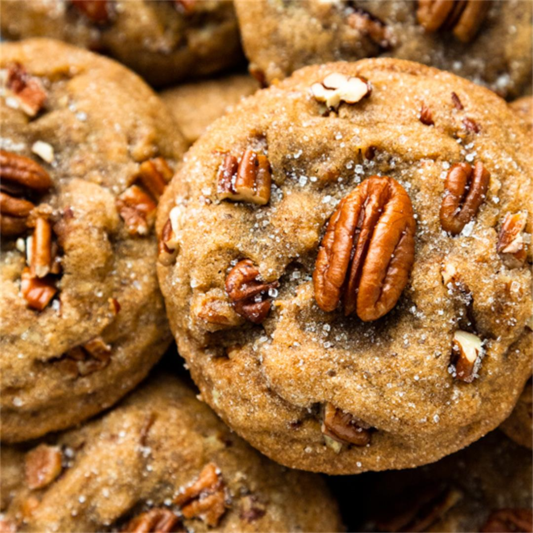 The BEST Thick and Chewy Browned Butter Pecan Cookies