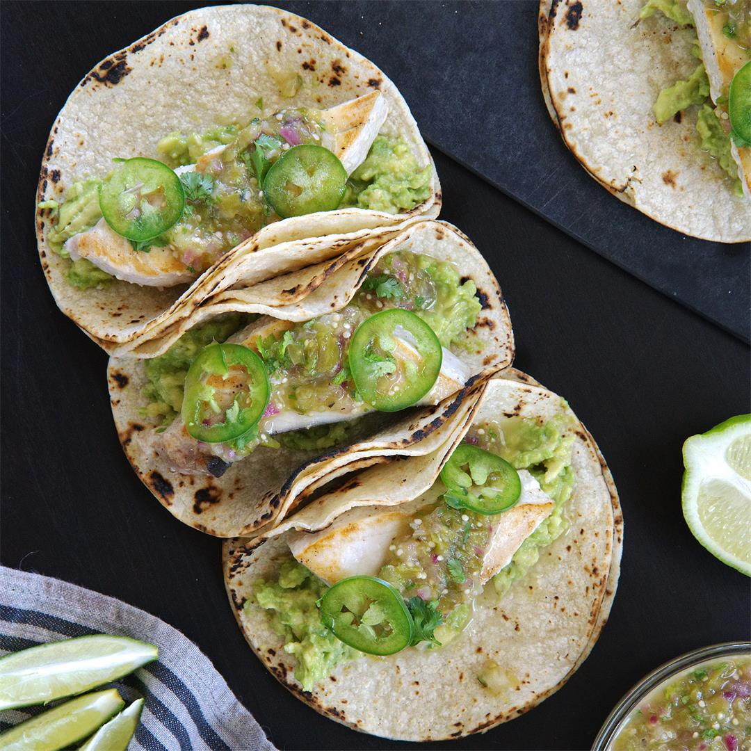 Swordfish Tacos with Tomatillo Salsa
