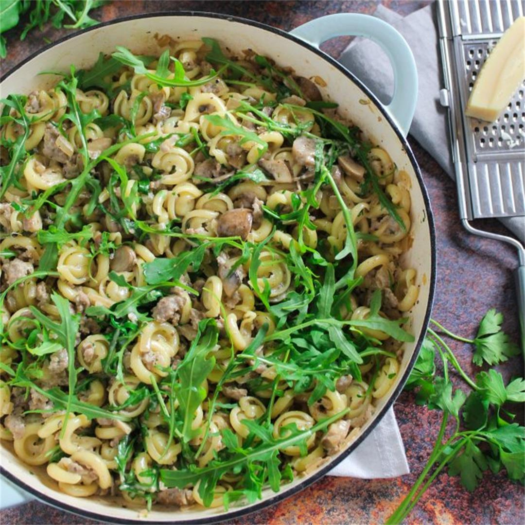 Sausage and Mushroom Pasta with Rocket