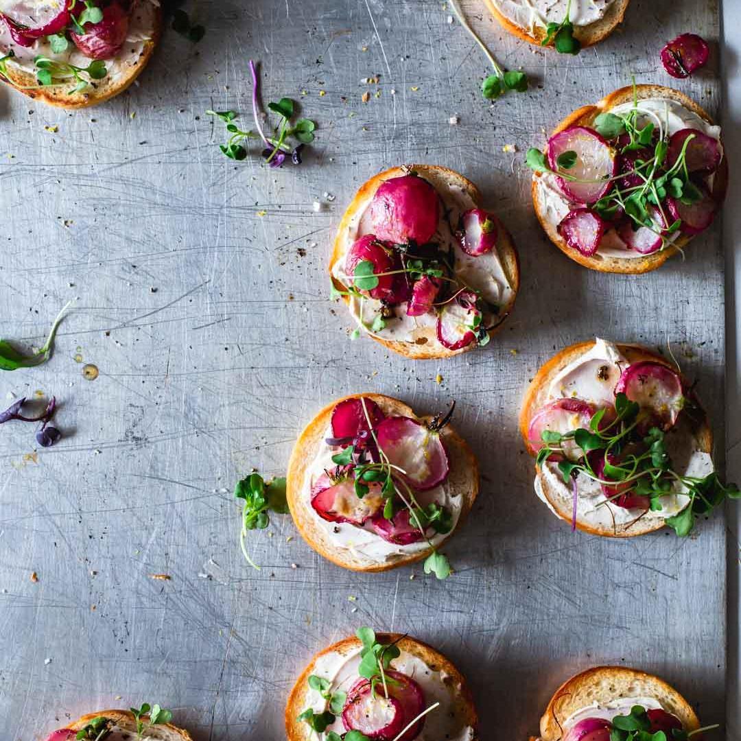 Roasted Radish Mini Bagels