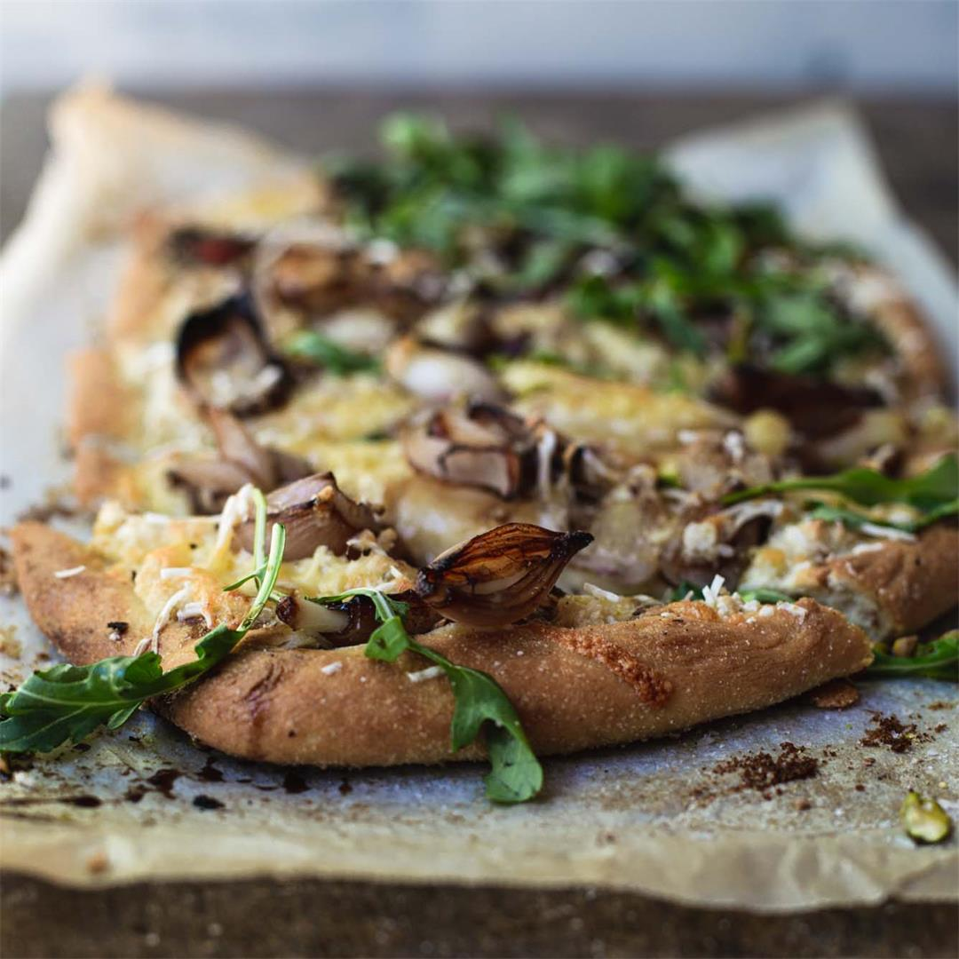 Vegan White Pizza with Pear & Balsamic Shallots