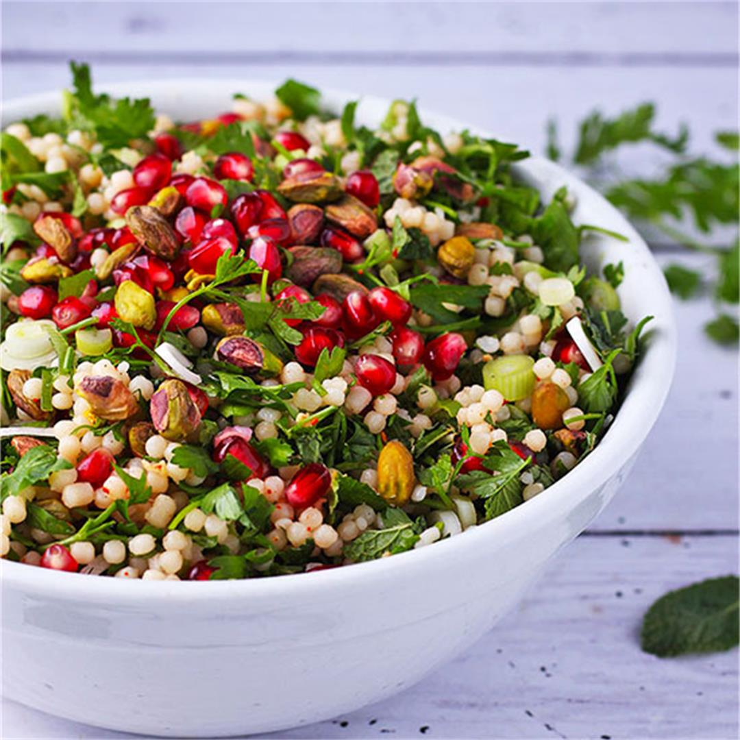 festive pomegranate couscous salad