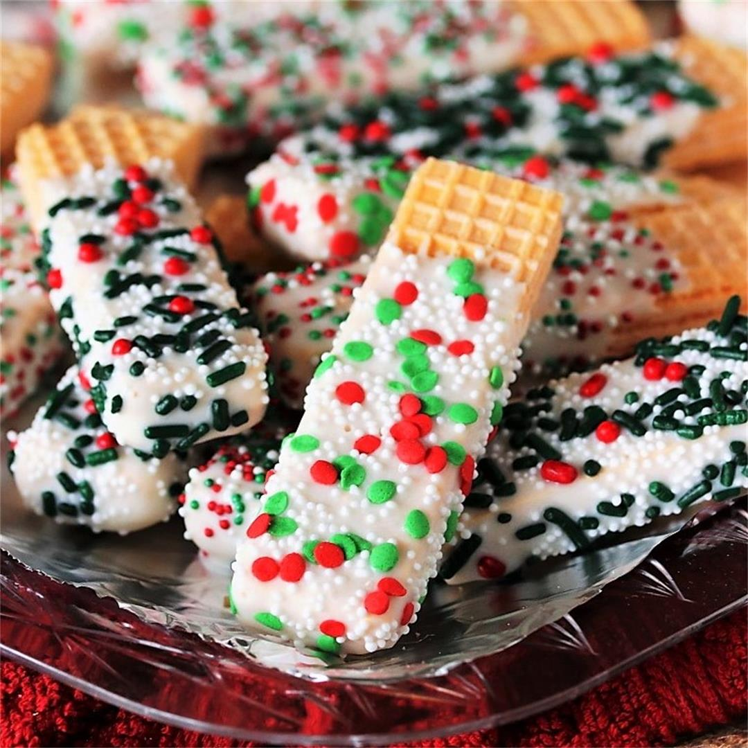 Christmas White Chocolate-Dipped Sugar Wafers
