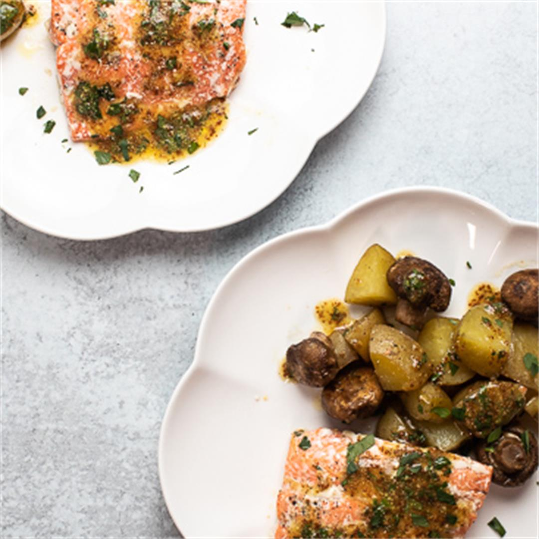 One Pan Roasted Salmon with Potatoes and Mushrooms