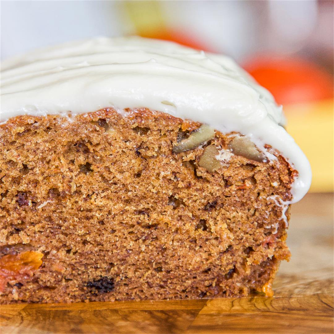 Persimmon Bread with Cream Cheese Frosting