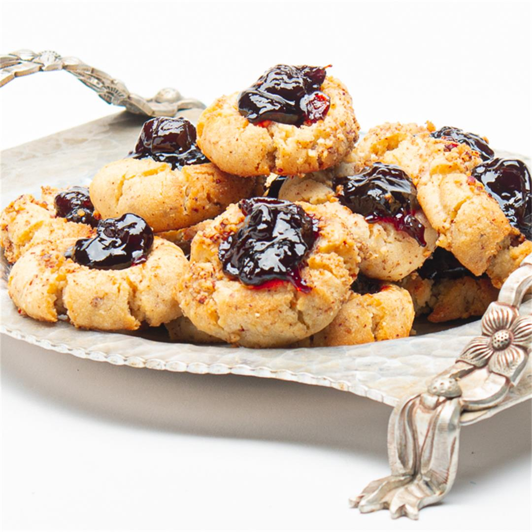 Thumbprint Cookies With Pecans and Cherry Jam