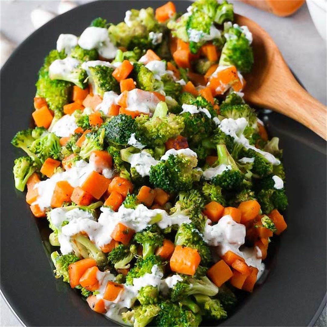 Garlic ranch sautéed broccoli and sweet potatoes