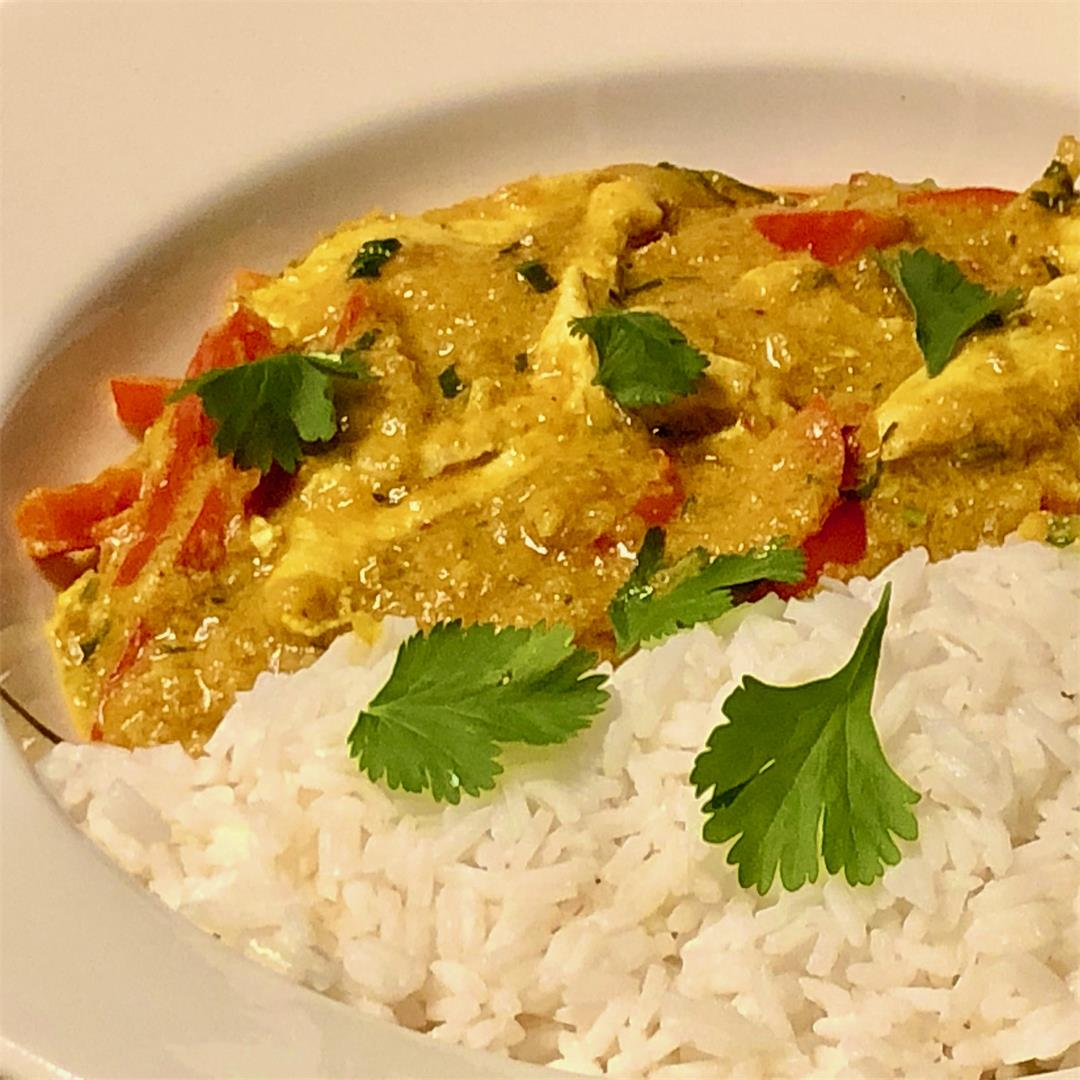 easy Thai pumpkin curry with chicken