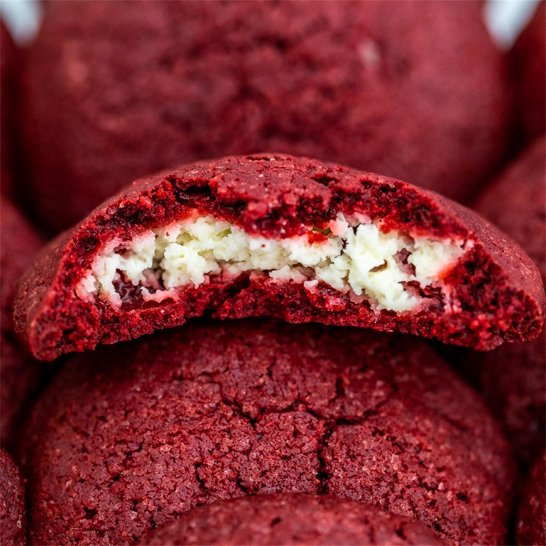 Cheesecake Stuffed Red Velvet Cookies