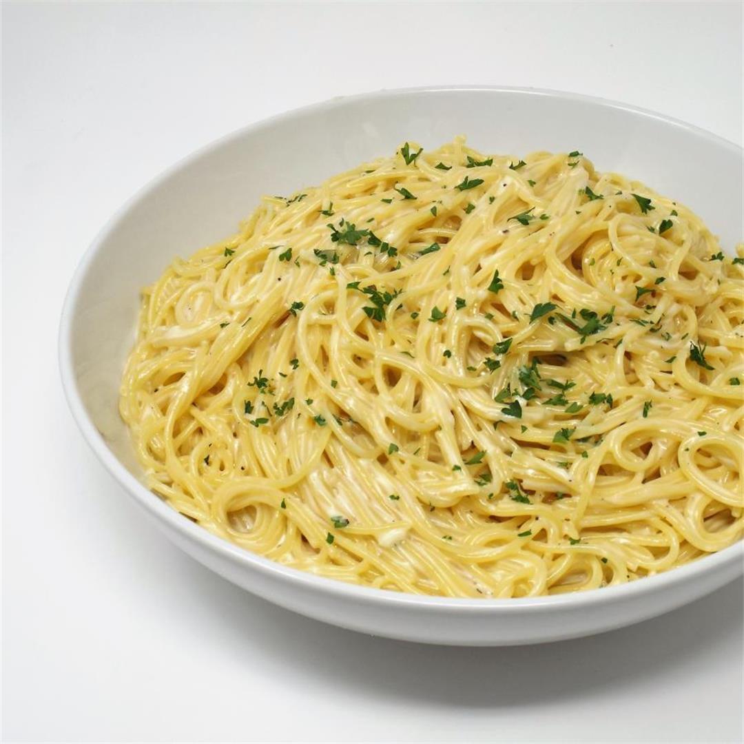 Three Cheese and Garlic Spaghetti