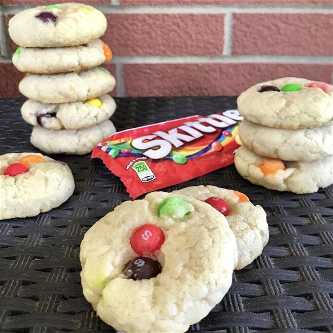 Soft and Chewy Skittles Sugar Cookies (Vegan)