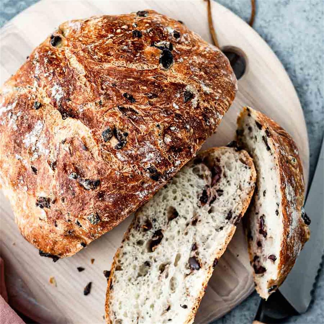 Crusty and Rustic Olive Bread Recipe (VIDEO!)