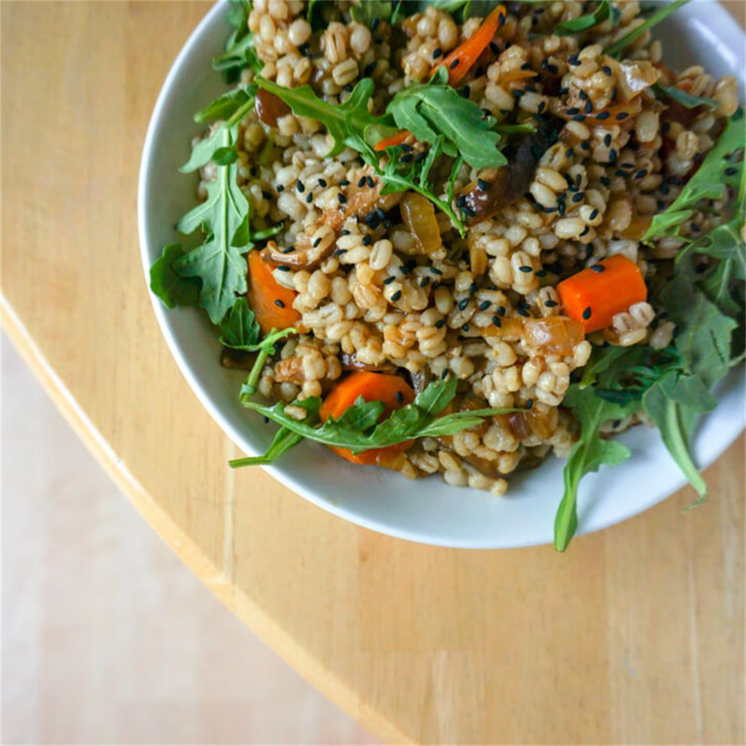 Miso Barley Pilaf with Mushrooms