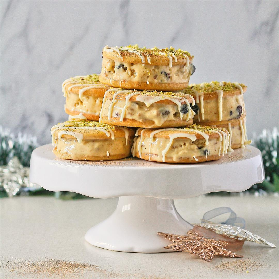 Custard and mince pie ice cream sandwiches