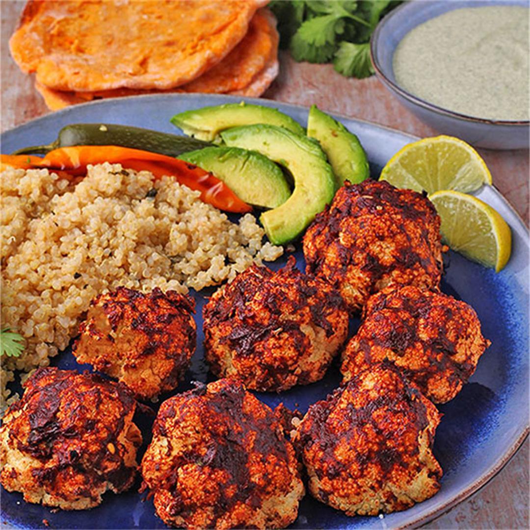 roasted BBQ cauliflower, pepita dressing & cilantro-lime quinoa
