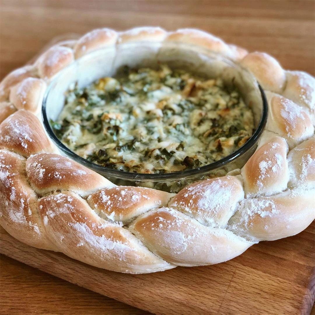 Festive Bread Wreath with Gruyere Cheese Dip