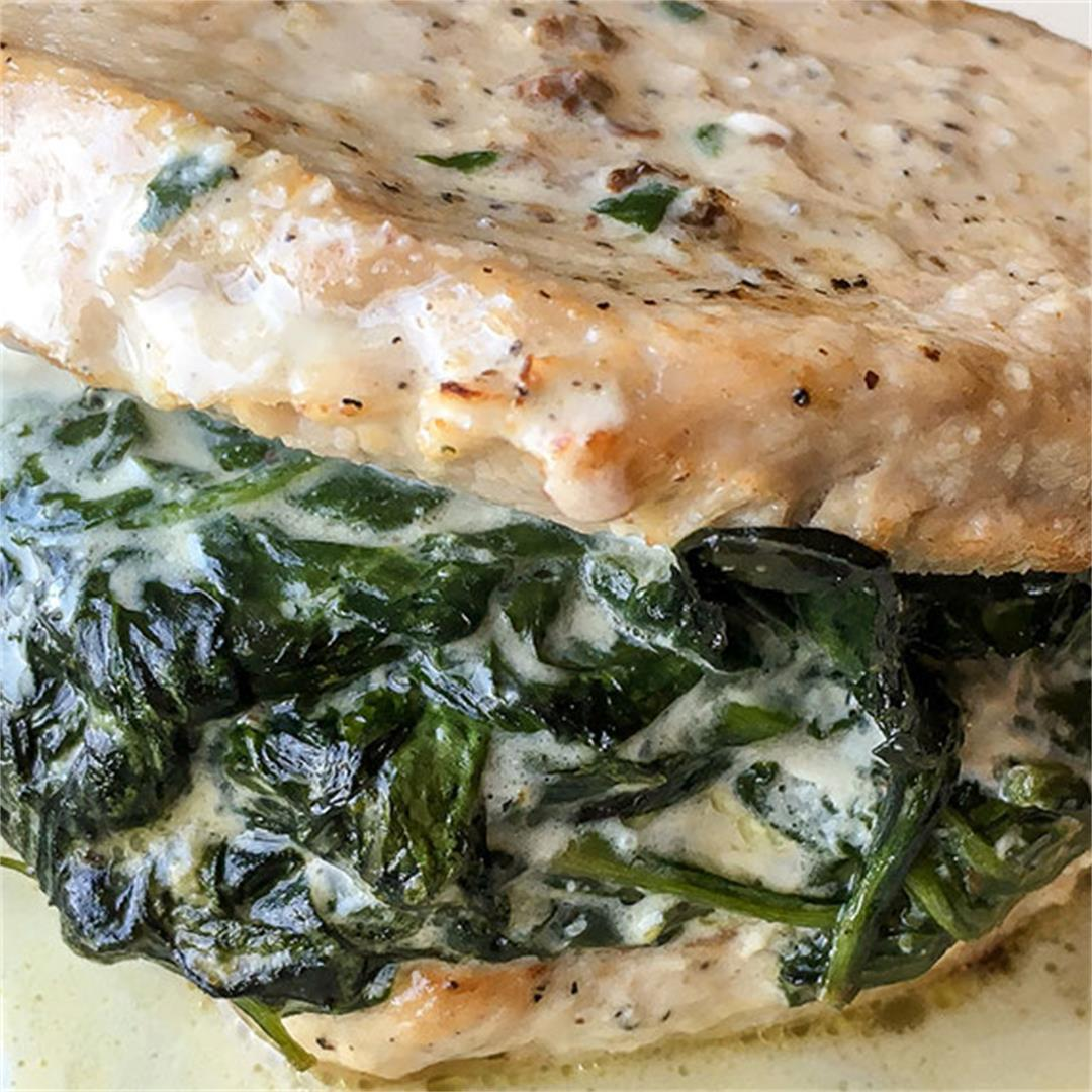 Creamed Spinach Stuffed Pork Chops