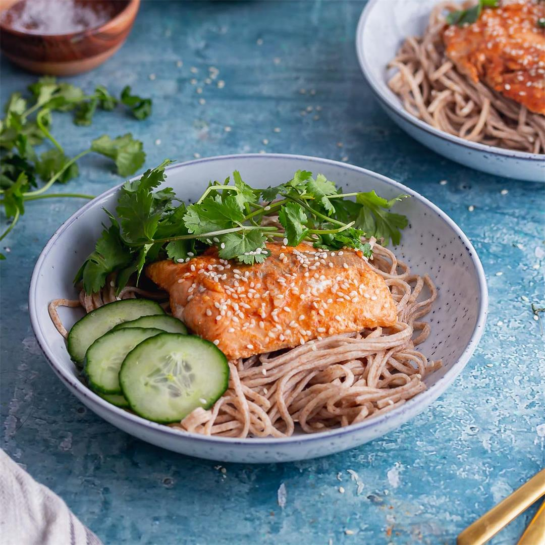 Honey Soy Salmon with Noodles & Pickled Cucumber