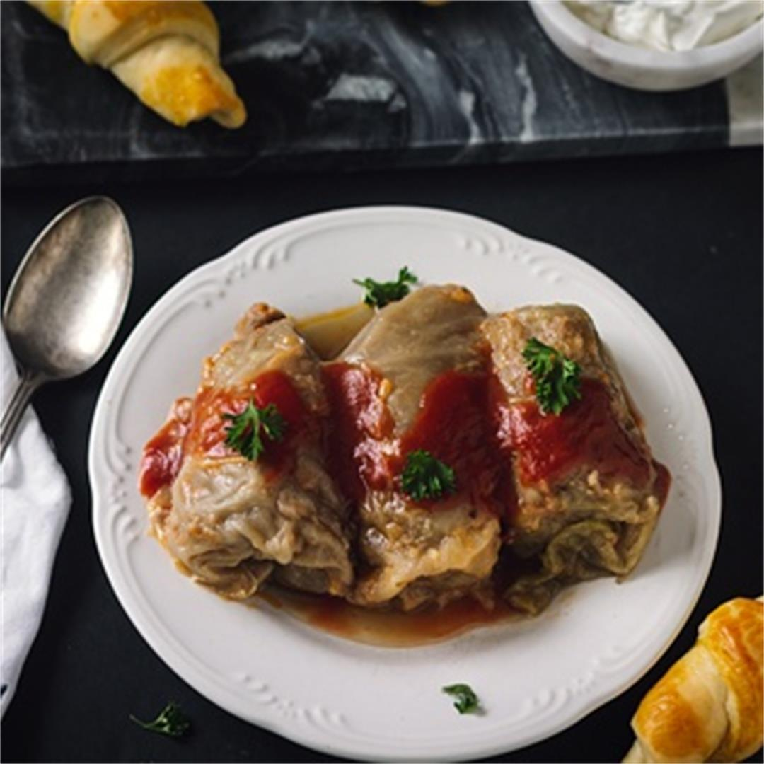 Classic Bosnian Sarma - Stuffed Pickled Cabbage Rolls