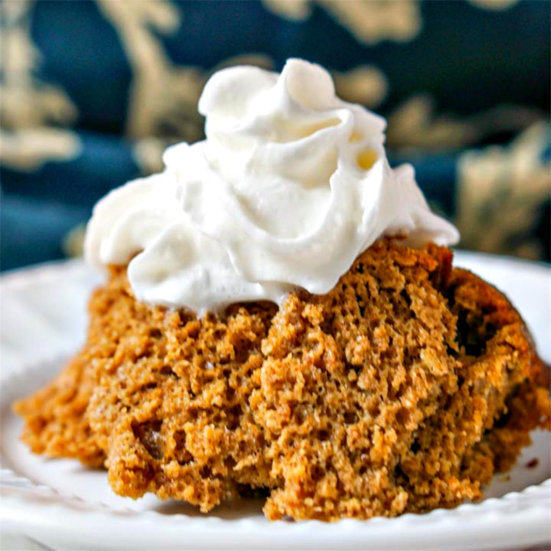 Slow Cooker Low Carb Pumpkin Cake with Candied Pecans