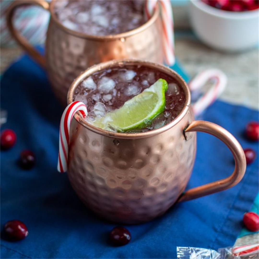 Festive Candy Cane Moscow Mules