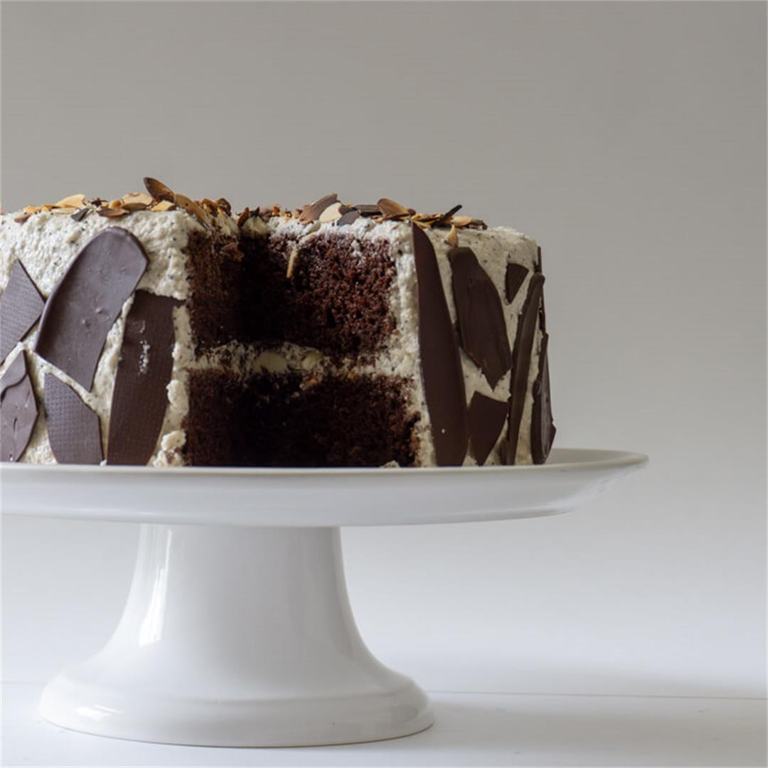 Mocha Cake with Coffee-Glazed Almonds