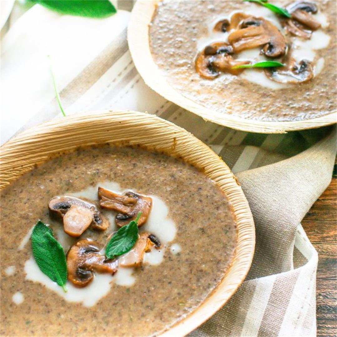 Creamy Sage Soup With Roasted Mushrooms