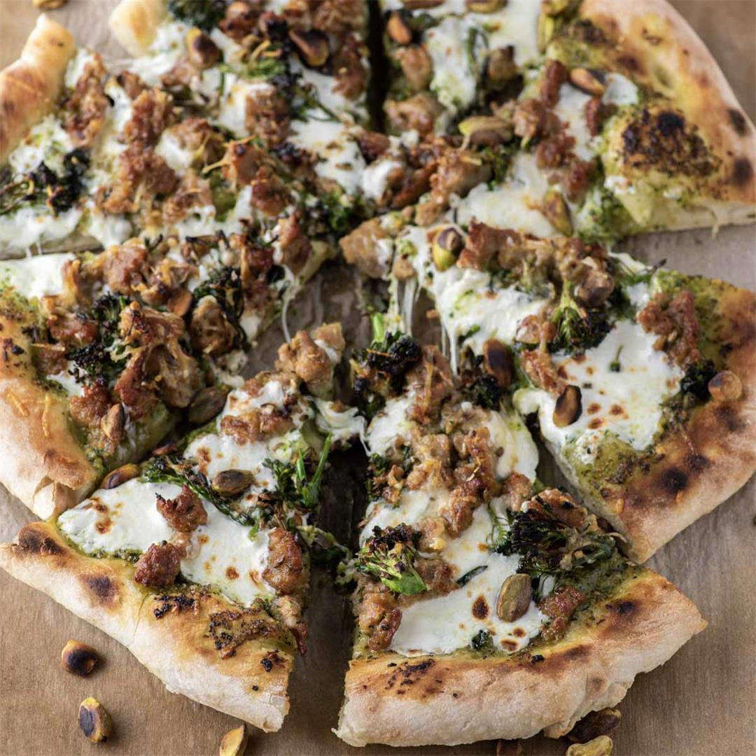 Broccoli Rabe Pesto and Sausage Pizza