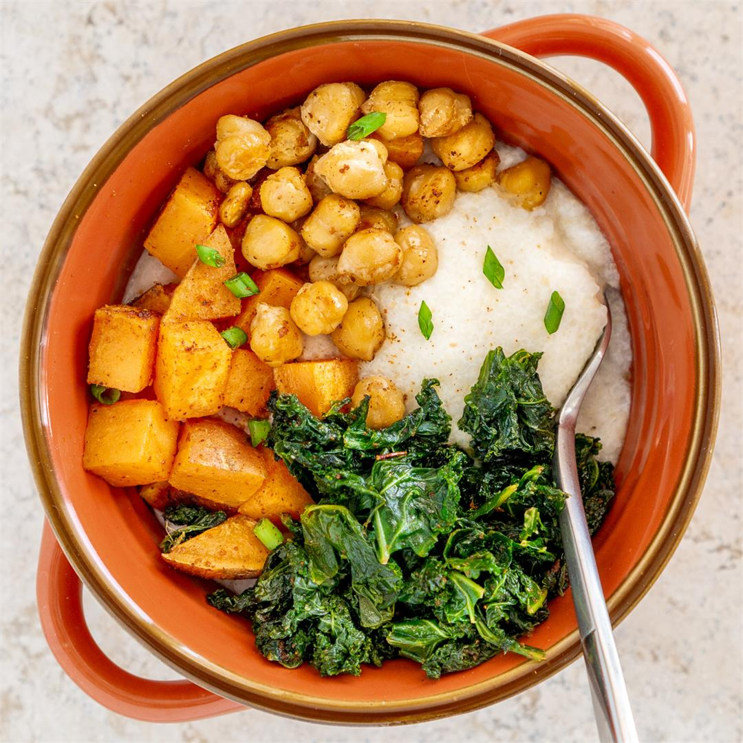 Grits with Cajun Sweet Potato, Kale, and Chickpeas