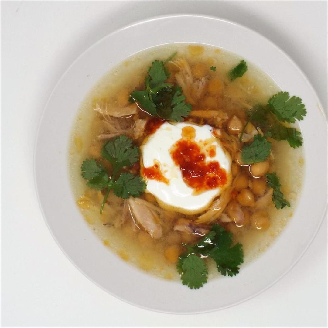 Chicken & Garbanzo Bean Soup with Garlic Chili Oil