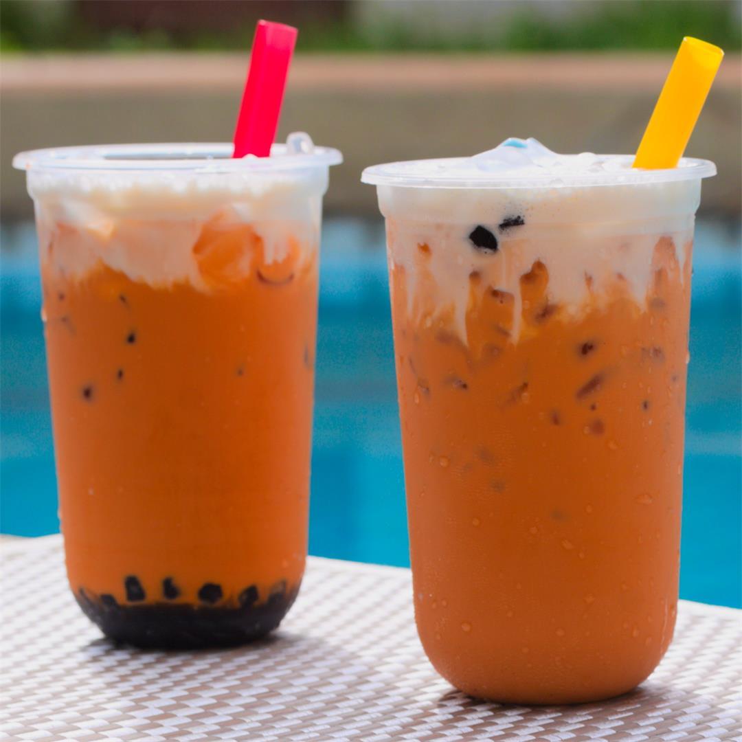 Thai Milk Tea (Cha Yen) & Thai Milk Tea with Boba