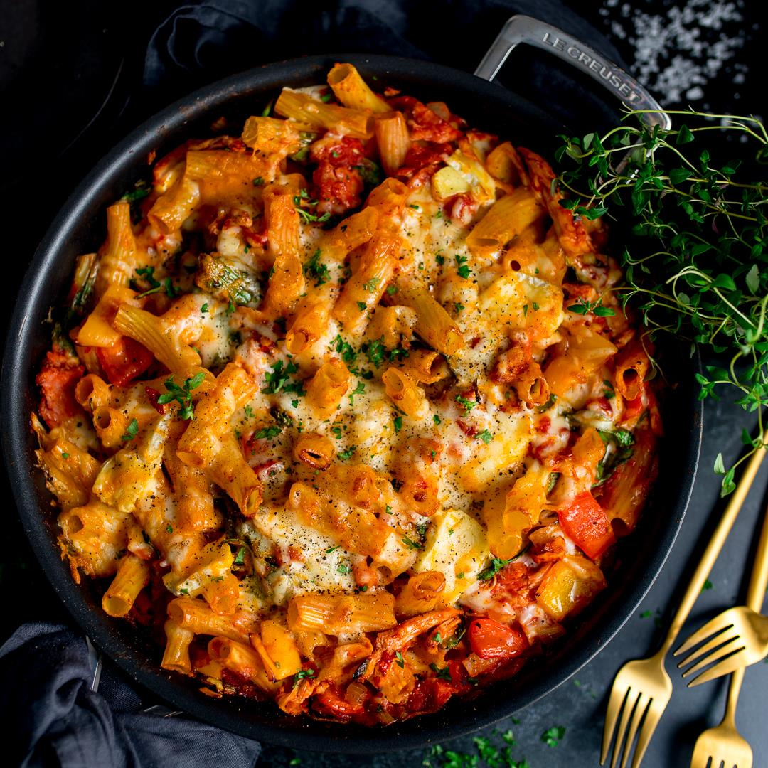 Leftover Turkey Pasta Bake with Ham and Cheese