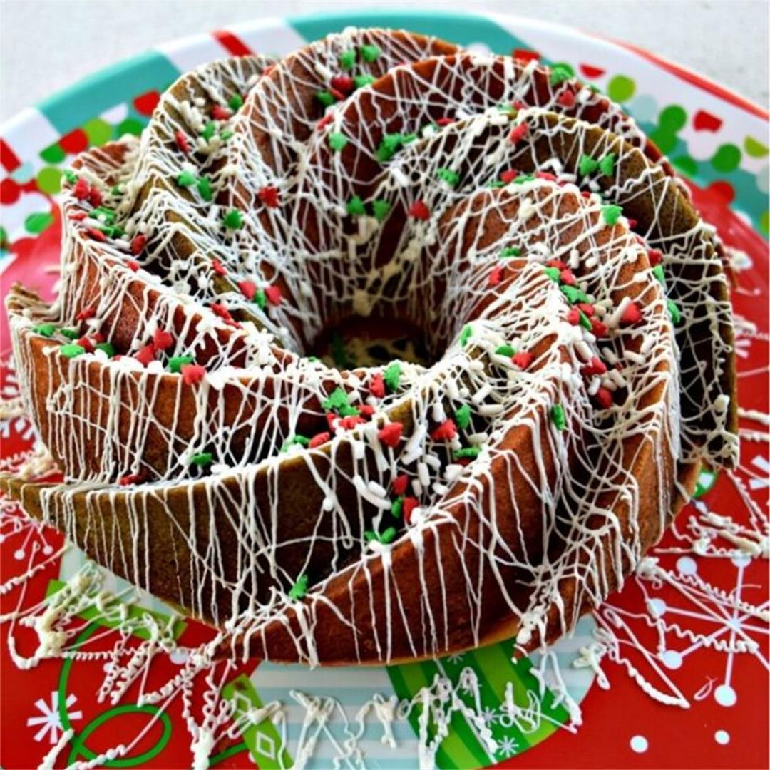 Tri-Colored Christmas Bundt Cake