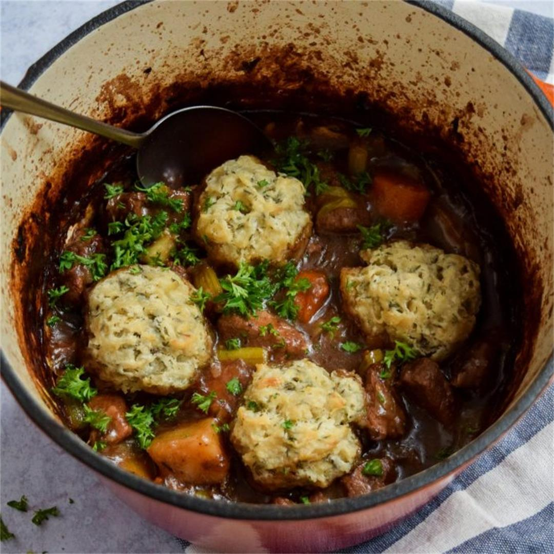Easy Beef Stew with Thyme Dumplings