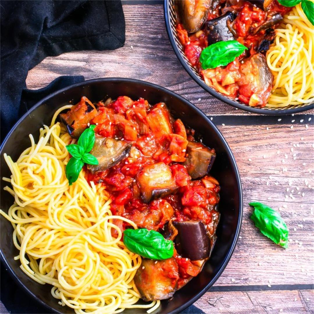 Spicy Roasted Eggplant Pasta