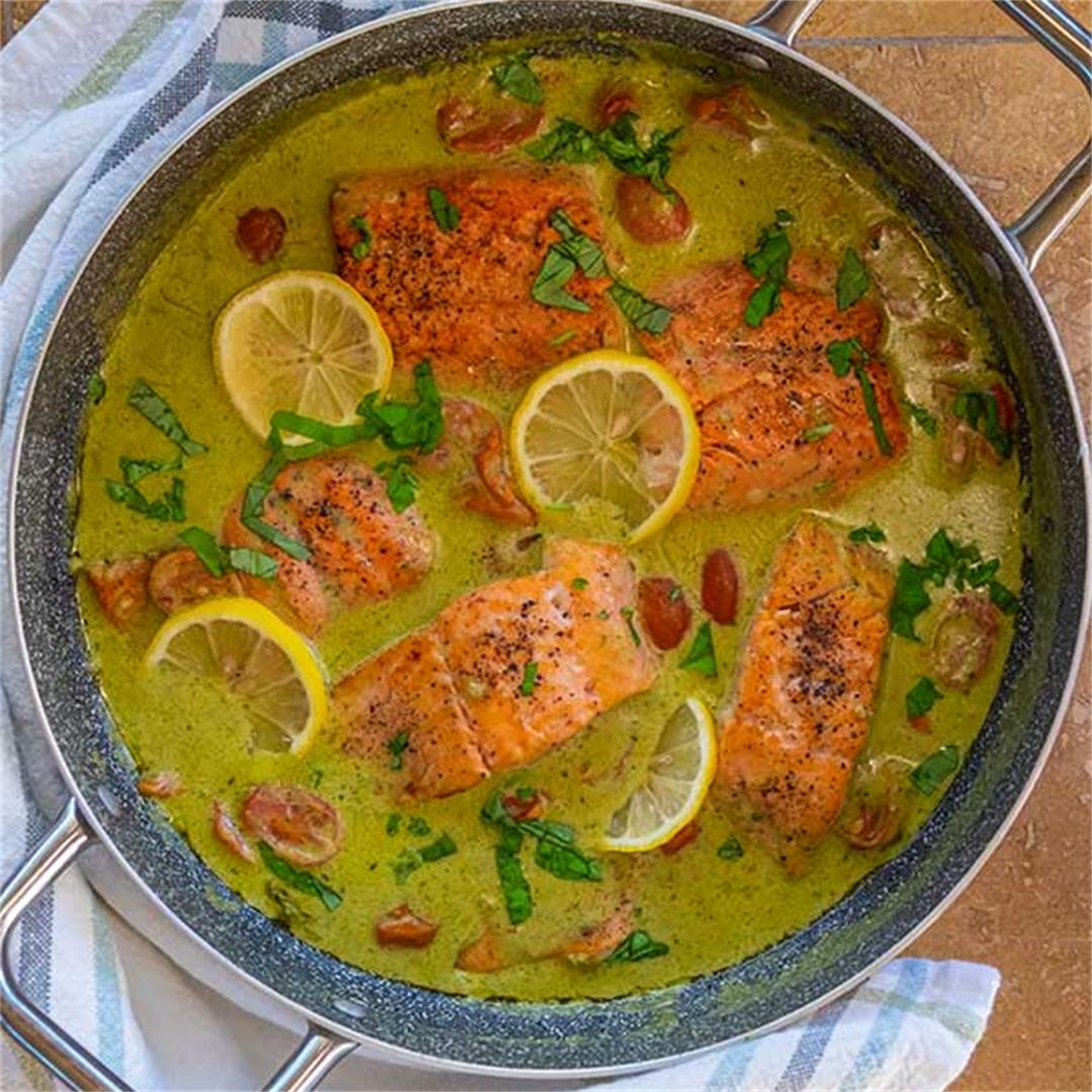 Healthy Coconut Pesto Salmon