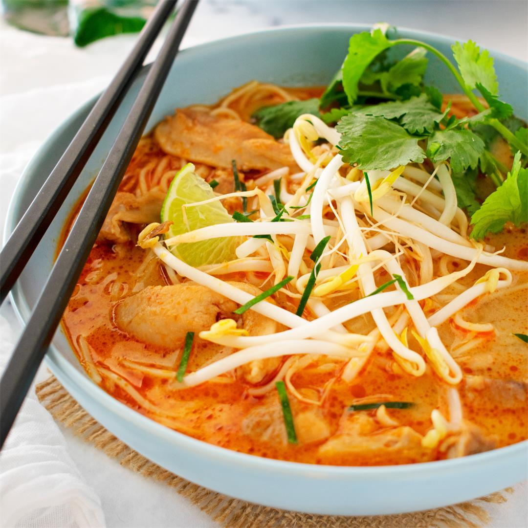 Quick Red Curry Chicken Noodle Soup