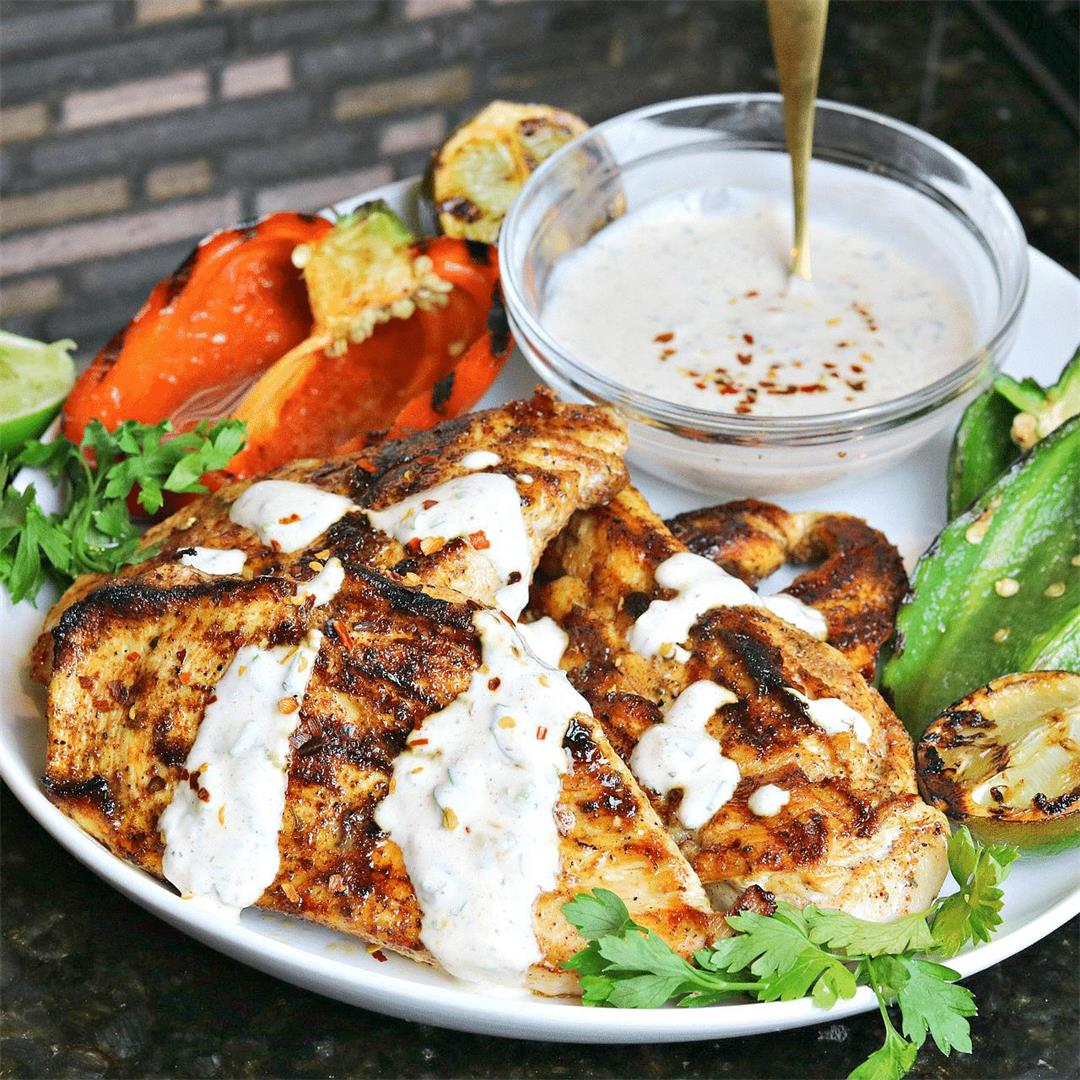 Easy Cast Iron Grilled Chicken with Cilantro Lime Sauce