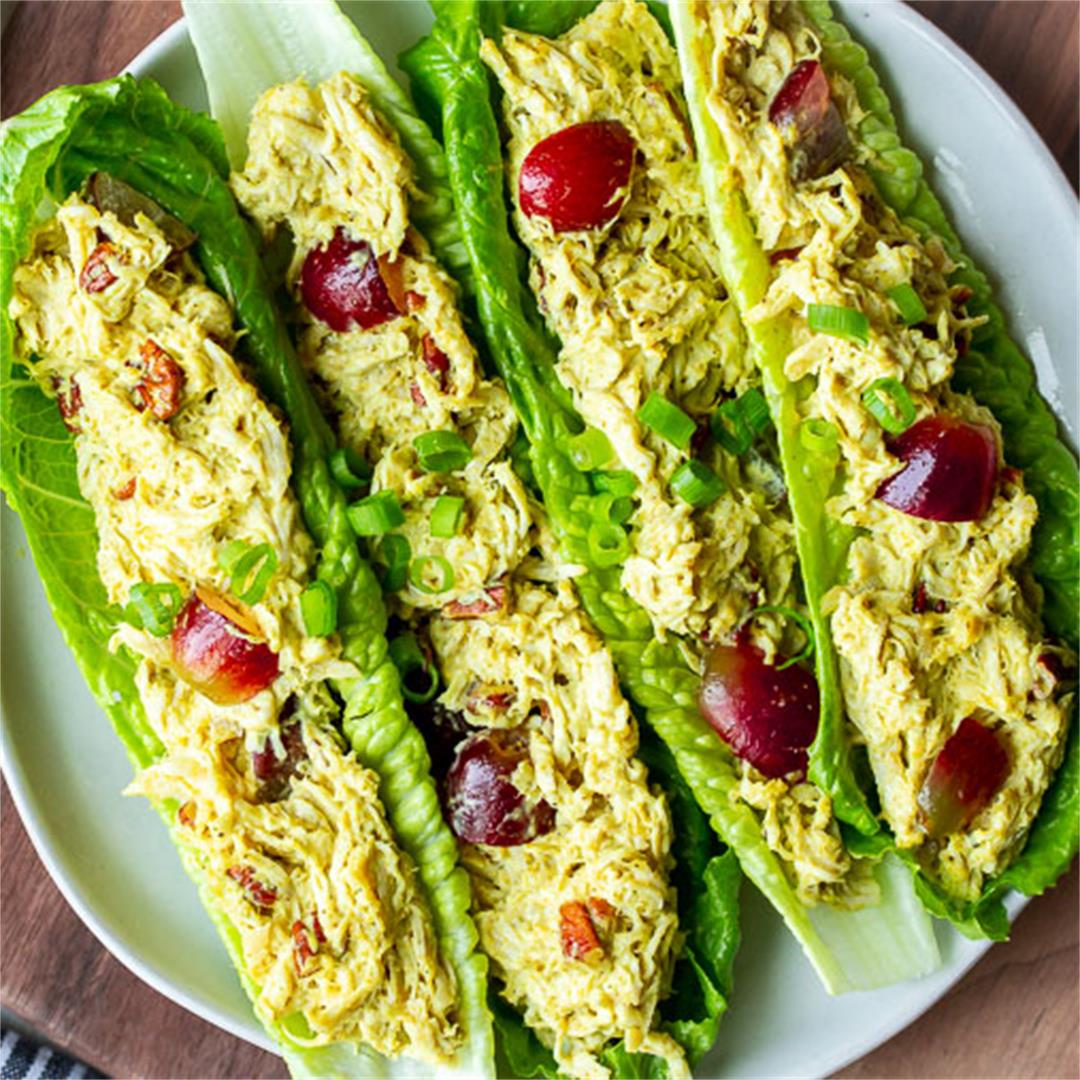 Curry Chicken Salad Recipe with Grapes and Pecans